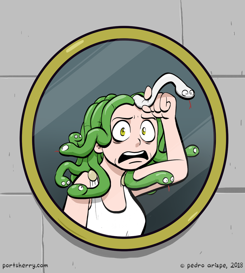 Medusa is defeated by a mirror